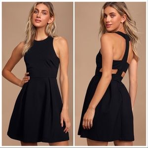Lulu's | Cutout and About Black Skater Dress